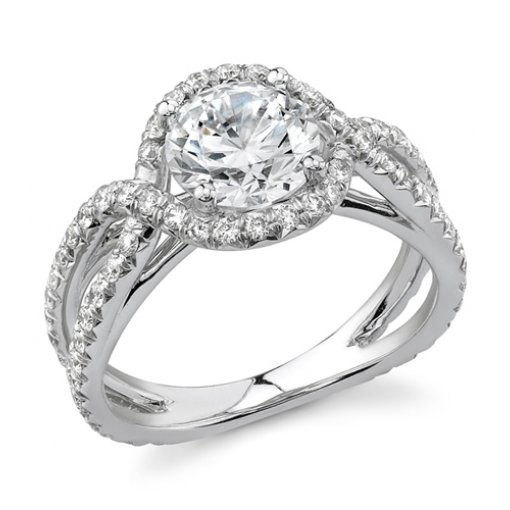 1.75 Carat of Round Cut Diamond in Criss cross Halo Diamond Engagement Ring