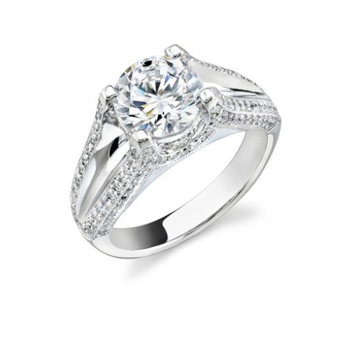 1.71 Carat of Round Cut Split Shank Pave Diamond Engagement Ring