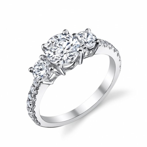 1.36 carat of Round Cut Three stone Diamond Engagement Ring