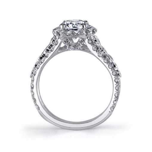 2.15 carat of Round Cut Vintage Style Halo Diamond Engagement Ring
