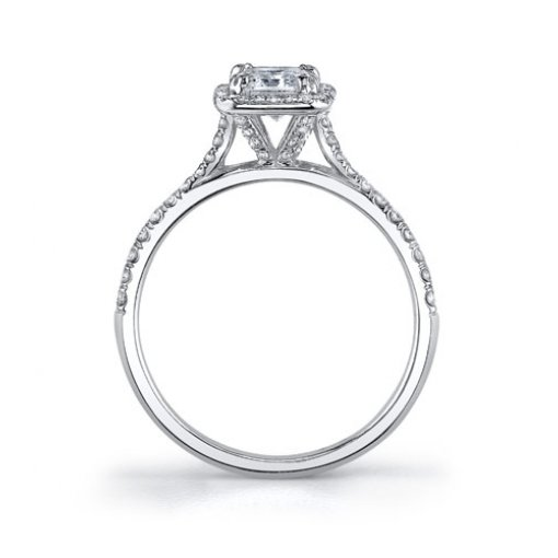 1.28 Carat of Asscher Cut Halo Diamond Engagement Ring