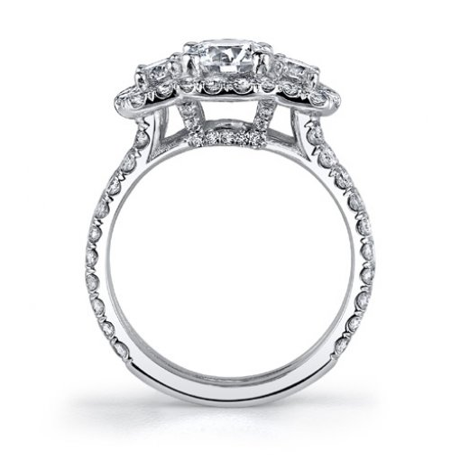 1.64 Carat of Round Cut in Three stone Halo Diamond Engagement Ring