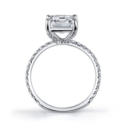 1.34 Carat of Asscher Cut Pave Diamond Engagement Ring