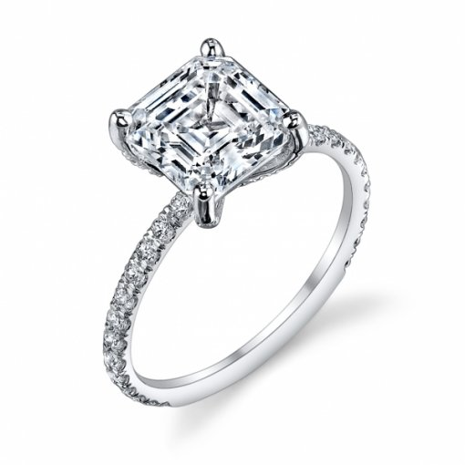 1.36 Carat of Asscher Cut Pave Diamond Engagement Ring