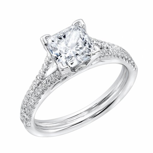 1.36 carat of Princess Cut Pave Split Shank Engagement Ring