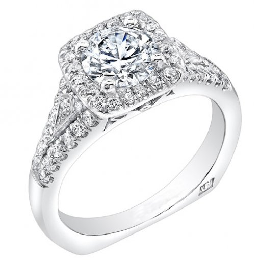 1.52 carat of Round Cut Pave Halo Engagement Ring