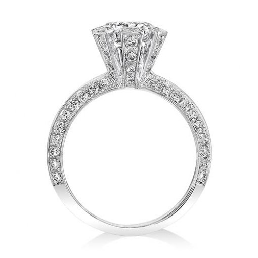 1.61ct Round Cut Pave Halo Diamond Engagement Ring