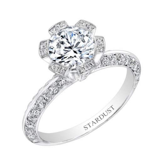 1.60ct Round Cut Pave Halo Diamond Engagement Ring