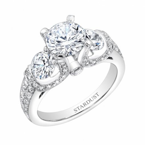 1.54ct Round Cut Antique Style Three Stone Pave Diamond Engagement Ring