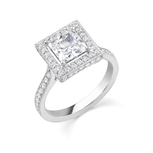 1.75ct of Princess Cut Halo Diamond Engagement Ring