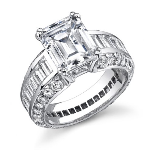 4.81ct Emerald Cut Diamond Engagement Ring with Baguette and Round Diamonds