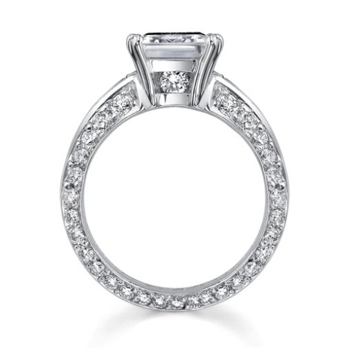 4.82ct Emerald Cut Diamond Engagement Ring with Baguette and Round Diamonds