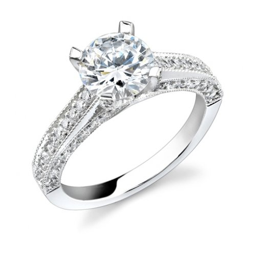 1.71ct of Round Cut Pave Diamond Engagement Ring