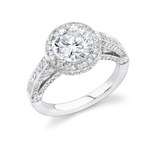 1.96ct Round Cut Pave Halo Engagement Ring