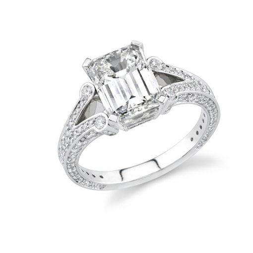 1.92ct Emerald Cut Pave Split Shank Engagement Ring