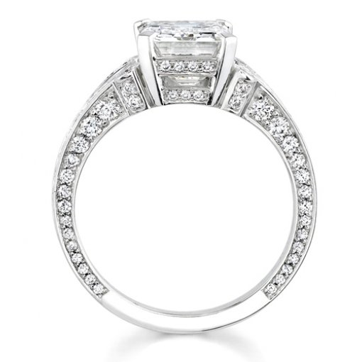 1.91ct Emerald Cut Pave Split Shank Engagement Ring