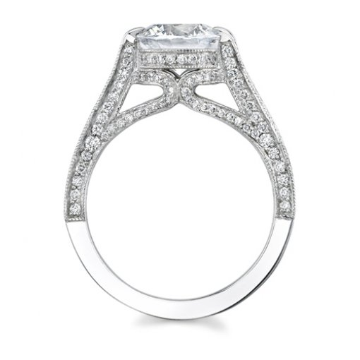 1.48ct Round Cut Pave Diamond Engagement Ring