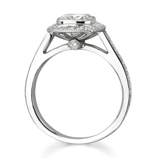 1.85ct Cushion Cut Bezel Halo Diamond Engagement Ring with Pave Diamonds on the side.