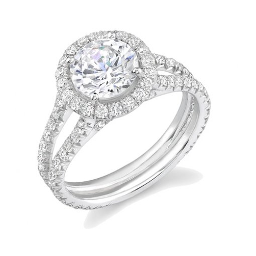 1.85ct Round Cut Pave Halo Engagement Diamond Ring