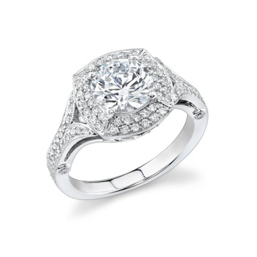 1.51ct Round Cut Pave Halo Diamond Engagement Ring