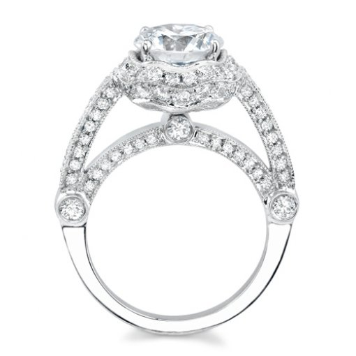 2.40ct Round Cut Pave Halo Diamond Engagement Ring