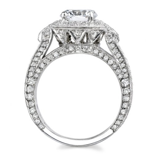2.26ct Round Cut Pave Halo Diamond Engagement Ring