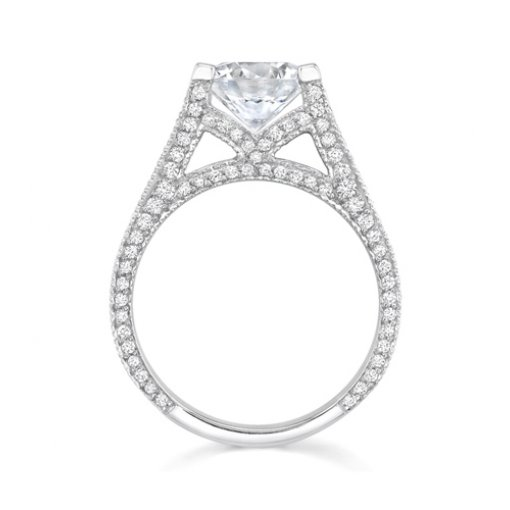 1.85ct Round Cut Split Shank Pave Diamond Engagement Ring