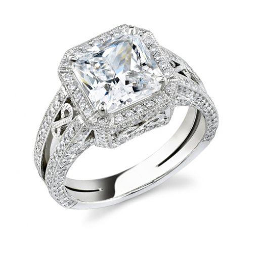 2.65ct Radiant Cut Vintage Style Pave Diamond Engagement Ring