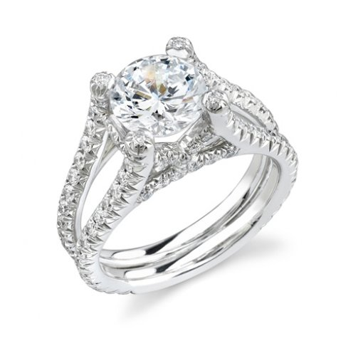 2.06ct Round Cut Split Shank Pave Diamond Engagement Ring