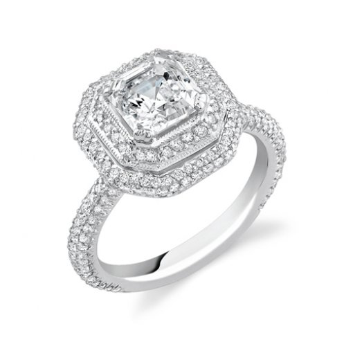 1.86ct Asscher Cut Double Halo Pave Diamond Engagement Ring