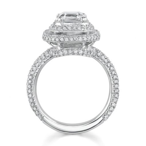 1.85ct Asscher Cut Double Halo Pave Diamond Engagement Ring
