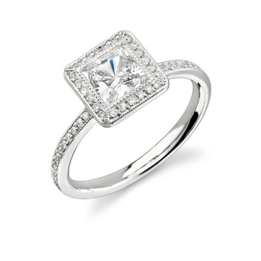 1.41ct Princess Cut Pave Halo Diamond Engagement Ring