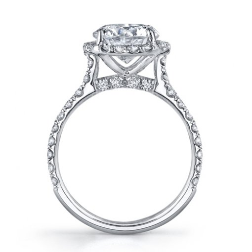 1.69ct Round Cut Halo French Pave Diamond Engagement Ring