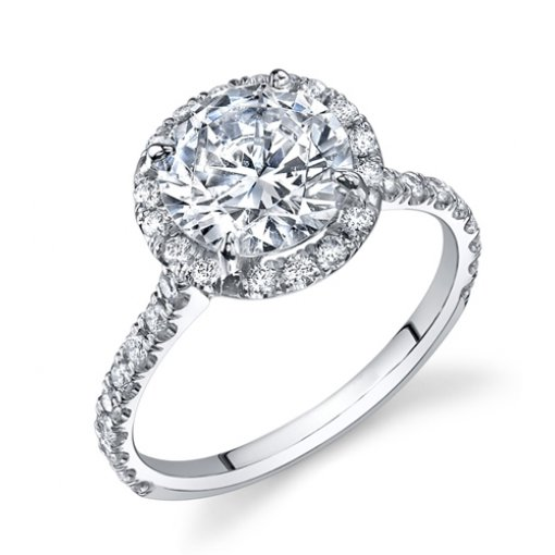 1.7ct Round Cut Halo French Pave Diamond Engagement Ring