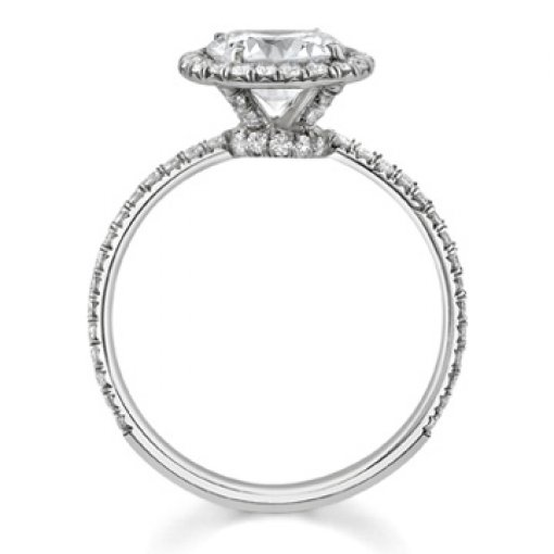 1.66ct EGL Round 18K Modern Halo Pave Diamond Engagement Ring F/VS1