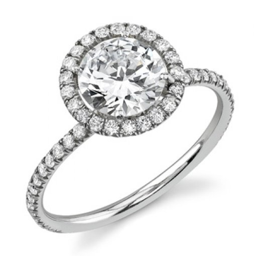 1.66ct EGL Round 18K Modern Halo Pave Diamond Engagement Ring D/SI1