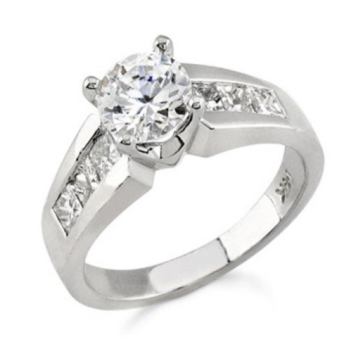 2.1ct GIA Round 18K Princess Channel Diamond Engagement Ring F/VVS2