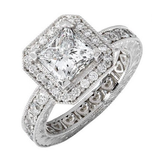 2.31ct GIA Princess 18K White Halo Hand Engraved Pave Ring G/VVS2
