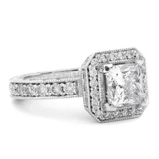2.4ct GIA Princess 18K White Halo Hand Engraved Pave Ring F/VS2