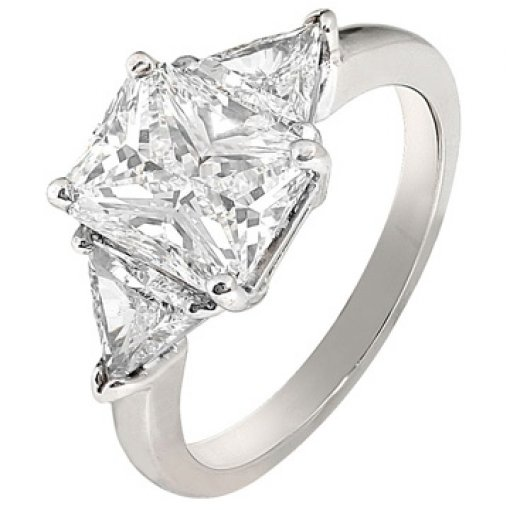2.71ct EGL Radiant 18K White 3 Stone Trillion Engagement Ring F/VS2