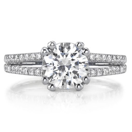 2.4ct GIA Round 18K Two Row Split Shank Engagement Ring H/SI2
