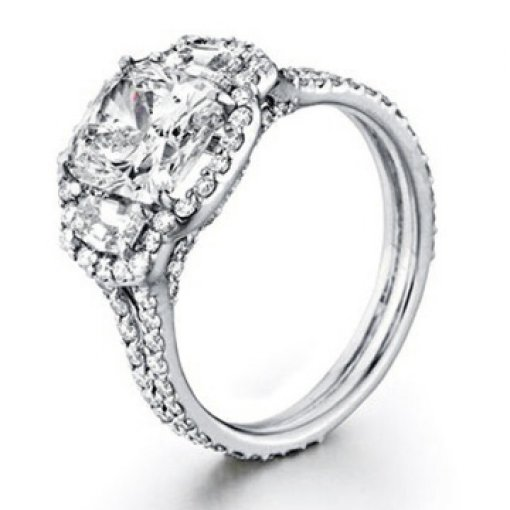 4.43ct GIA Cushion 18K Trapezoid Pave Halo Engagement Ring J/VS1