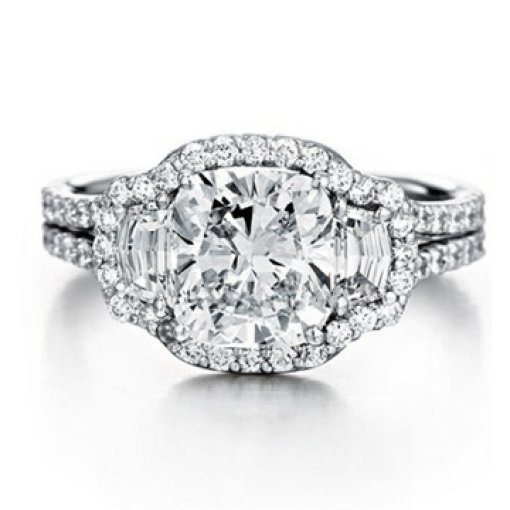 4.41ct GIA Cushion 18K Trapezoid Pave Halo Engagement Ring F/SI1