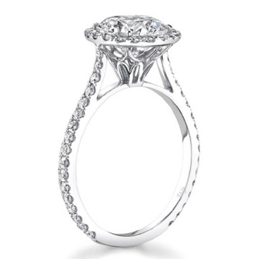 1.86ct GIA Round 18K White Pave Set Halo Engagement Ring J/SI2