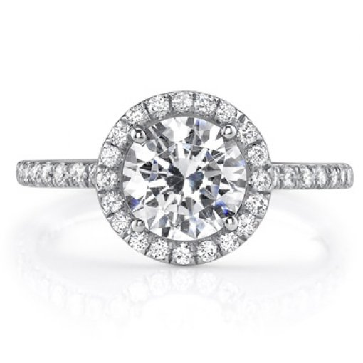 2.05ct GIA Round 18K White Pave Set Halo Engagement Ring D/VS1