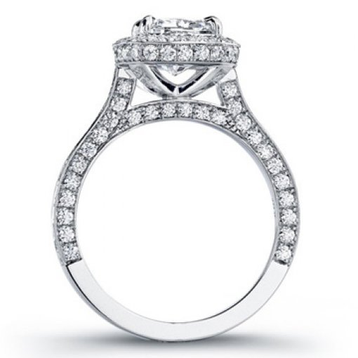 2.60ct GIA Cushion 18K Pave Set Diamond Halo Engagement Ring H/SI1