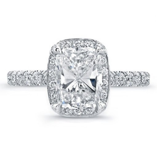 3.06ct GIA Cushion 18K Pave Set Diamond Halo Engagement Ring F/VS1