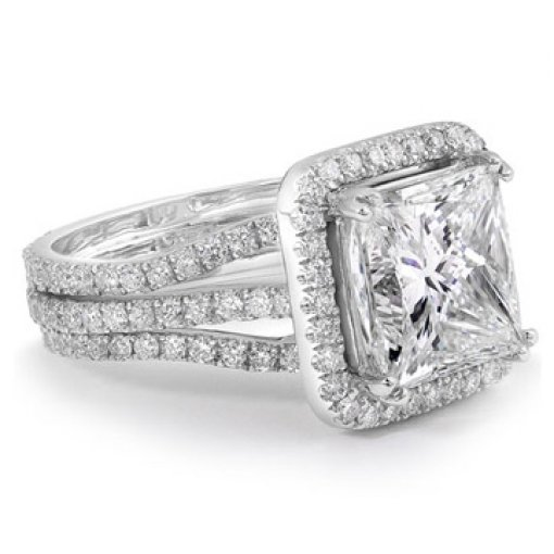 3.11ct EGL Princess 18K White Gold 3 Row Halo Engagement Ring G/VS2