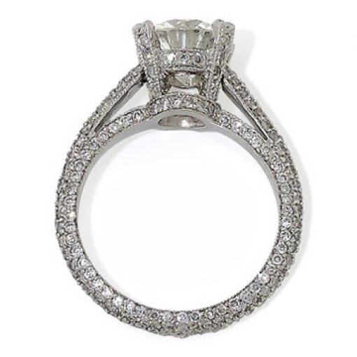 2.50ct GIA Round 18K Vintage Pave Eternity Engagement Ring E/VS2