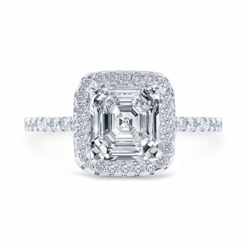 1.68 carat of Asscher Cut I SI2 Diamond Wedding Set in Platinum with French Pave setting